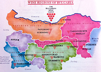 Wine map of Bulgaria